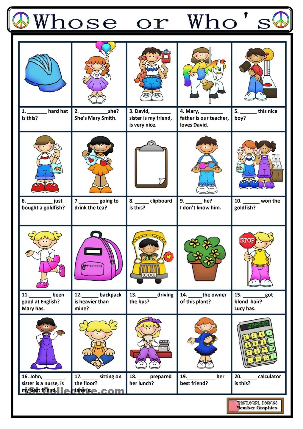 WHOSE or WHOS? english lessons Pinterest Worksheets