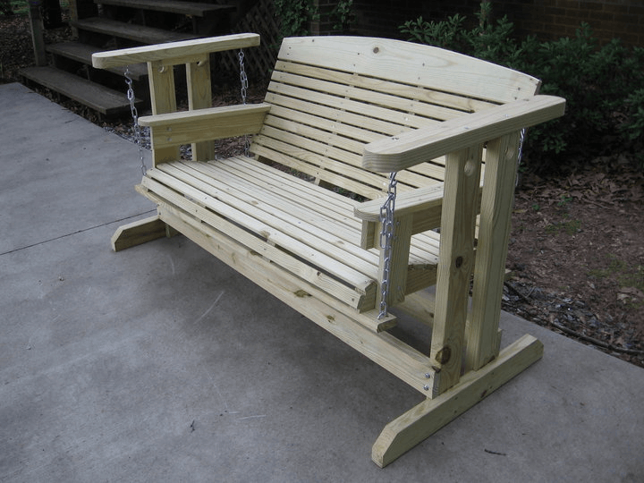 Porch Swing Glider I Like The Idea Of A Porch Swing And Would Prefer Not To Hang One Great Alternative Wooden Porch Outdoor Glider Outdoor Glider Chair