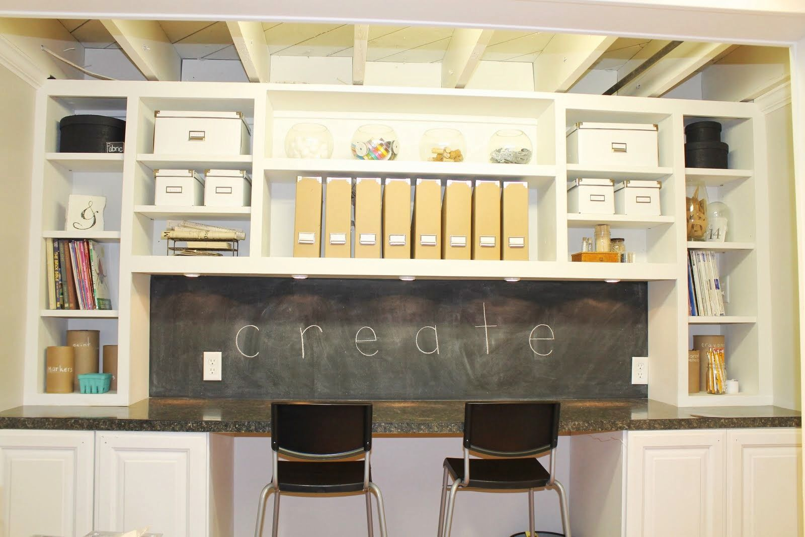 furniture marvellous design for craft room areas with white craft table with storage including black plastic craft chair and chalk board wall
