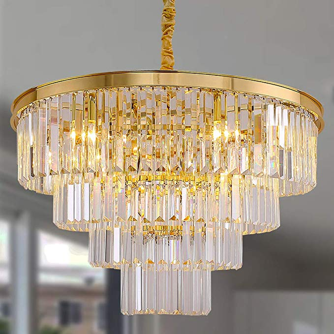 Meelighting Gold Plated Crystal Modern Contemporary Chandeliers