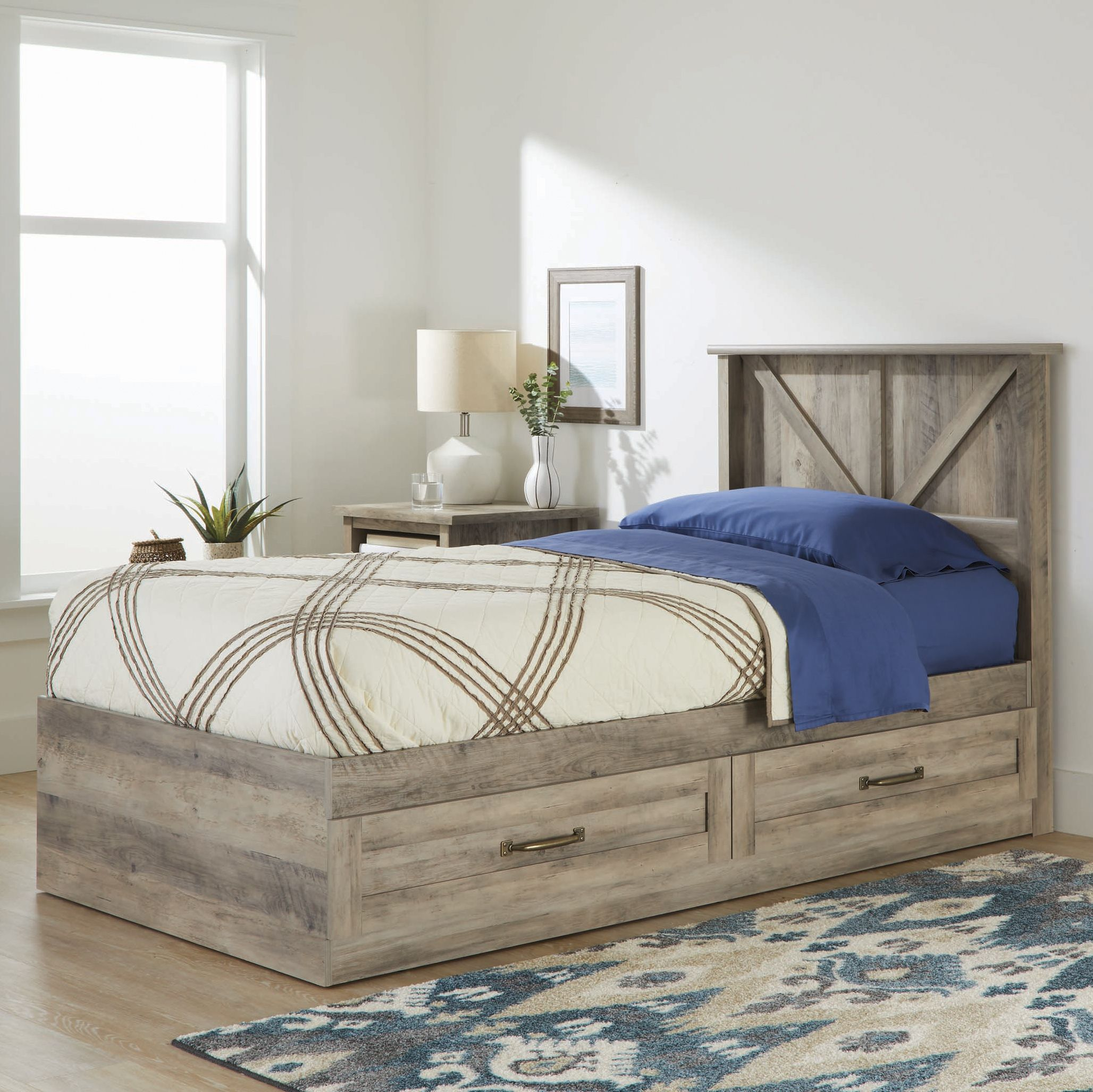 Better Homes Gardens Modern Farmhouse Platform Bed With Storage