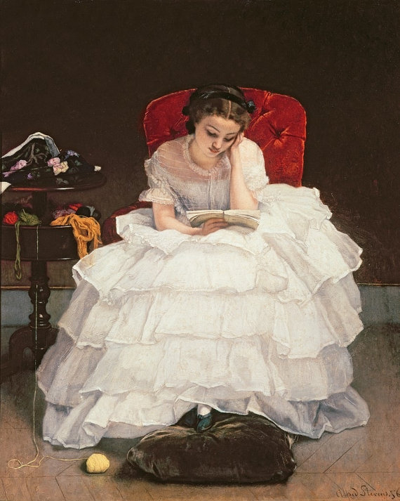 Fine Art Print Of Beautiful Girl In Ruffled White Dress Reading A
