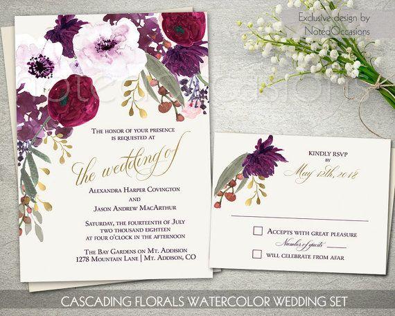 Purple Floral Wedding Invitation Printable Set Bohemian Wedding