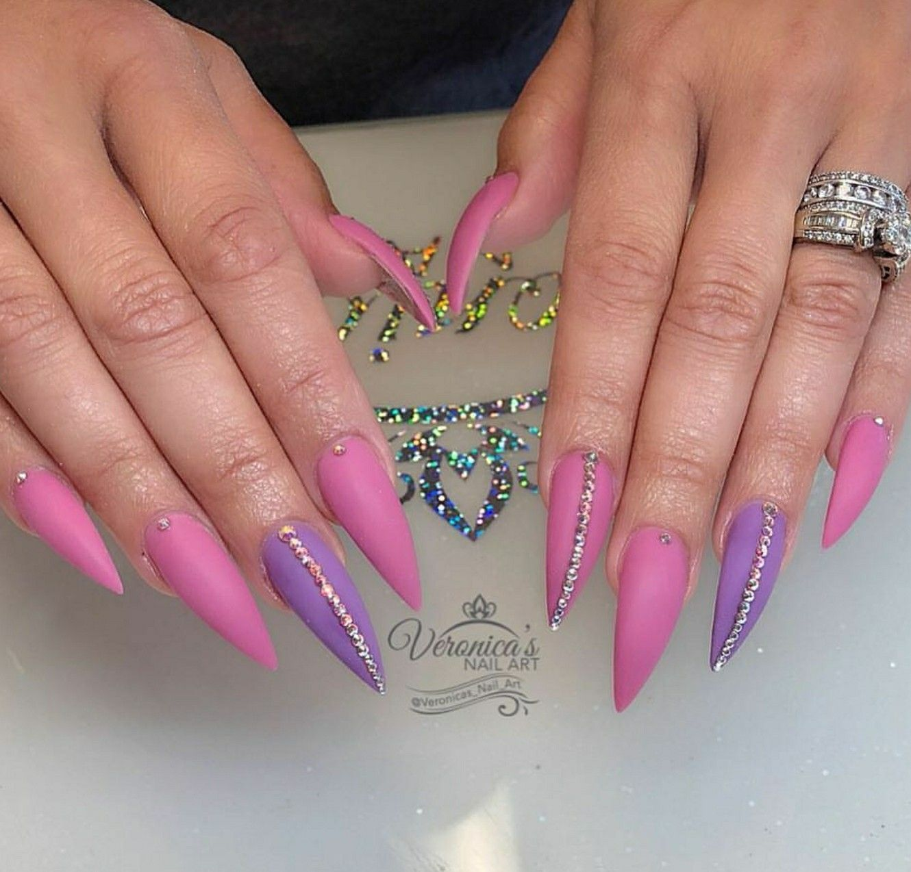 Stiletto Nails Nails With Rhinestones Matte Nails Pink And
