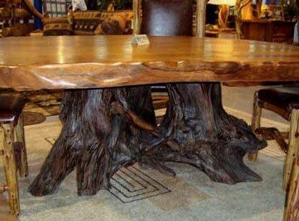 Live Edge Double Stump Table Wood Dining Table Rustic Wood Slab