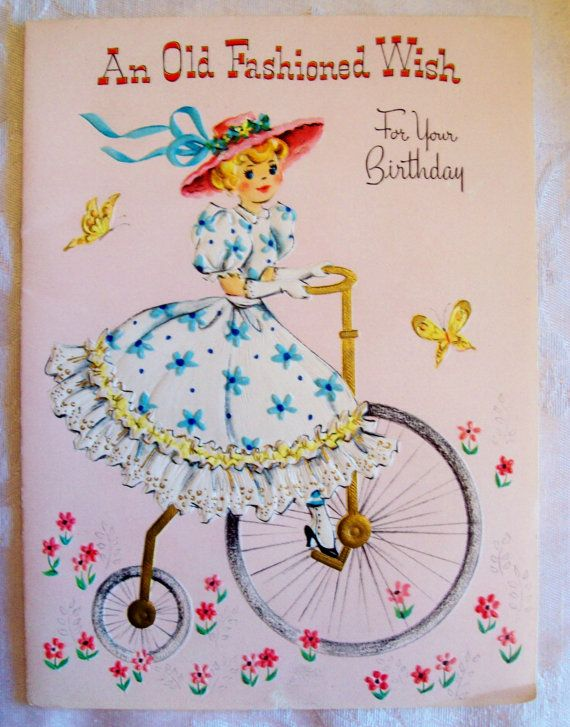 Vintage Old Fashioned Birthday Card 1950s Mint Condition
