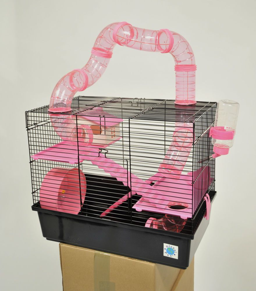 Bernie Large Pink Hamster Cage Small Animal Cage With Fun Play Tubes 3 Storey Hamster Cage Small Animal Cage Small Pets