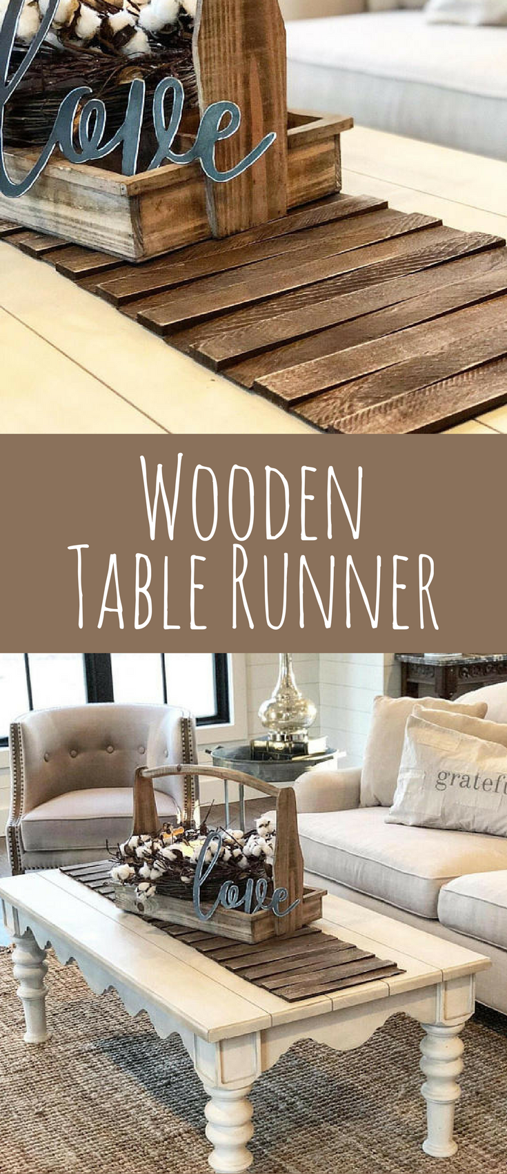 Wooden Table Runner - Rustic Home Decor - Tabletop Centerpiece