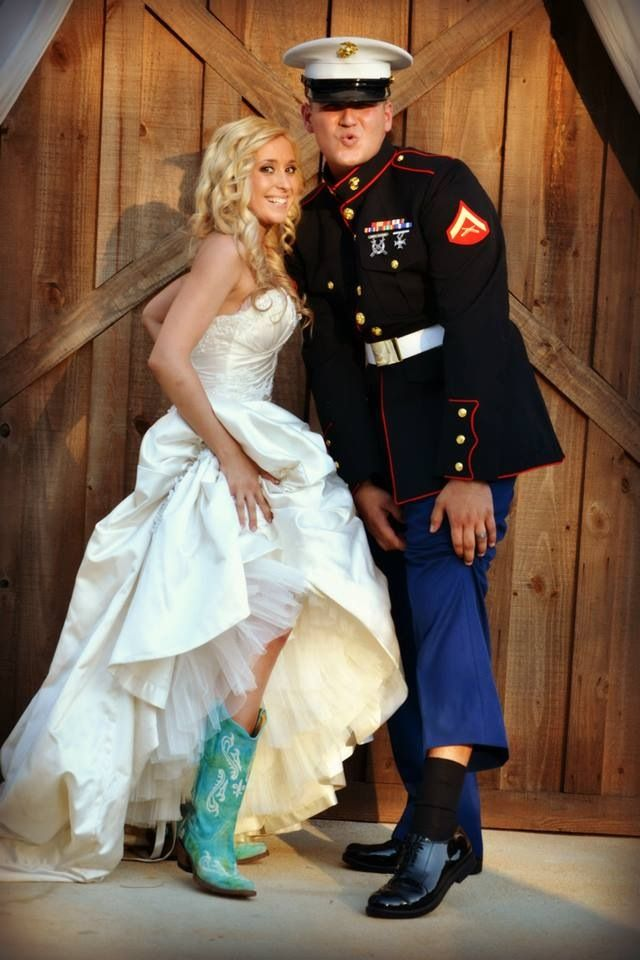 Credit to mandi b photography country barn wedding for Free wedding dresses for military brides