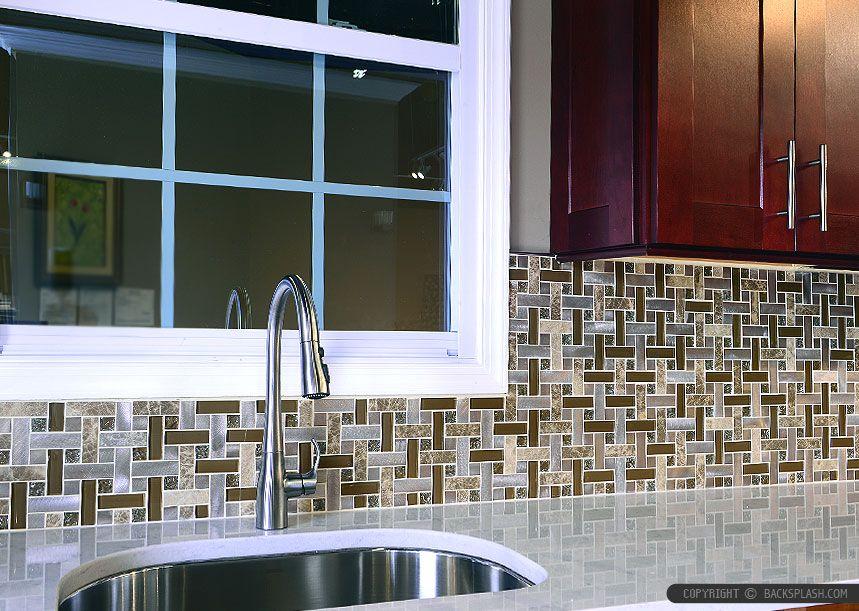 Best Brown Cabinet Glass Marble Metal Kitchen Backsplash Tile 640 x 480