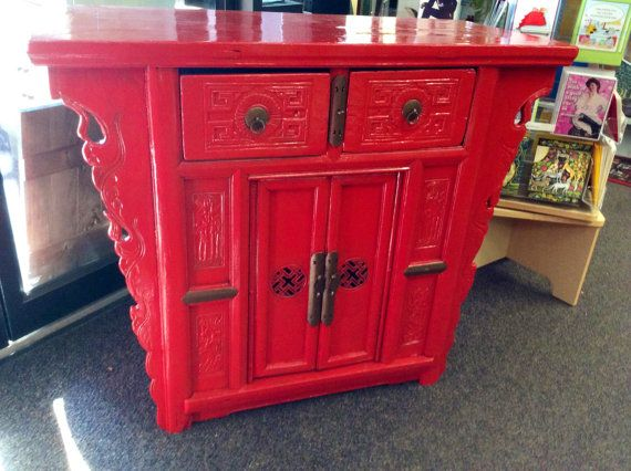 Vintage Red Oriental Cabinet