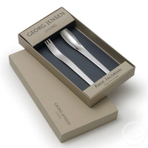 "Georg Jensen Arne Jacobsen Steel Child's Set by Georg Jensen. $35.00. Arne Jacobsen: Freedom and ease in movement. In 1957 Arne Jacobsen created a minimalist cutlery set which is simple in form and more contemporary-looking today than ever. The simple lines harmonize beautifully with the finish of the craftsmanship. Each piece fits naturally in the hand inviting its user to enjoy freedom and ease in movement. ""Arne Jacobsen"" has been deemed 'flatware without frills', and conti..."