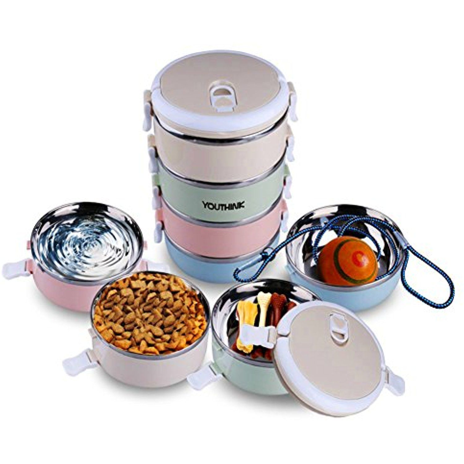 Spill Proof Dog Cat Travel Bowl Portable 304 Stainless Steel Multiple Layers Pet Water Food Storage Container With
