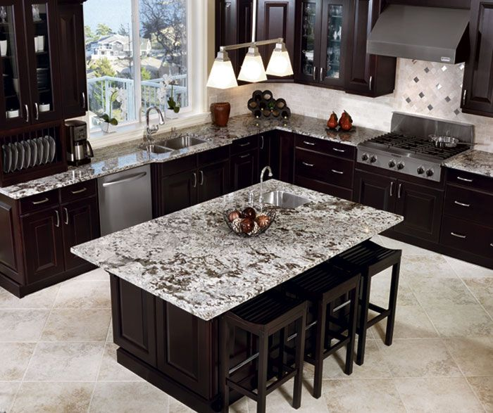 Amazing Contemporary Kitchen Design With Espresso Stained Kitchen Cabinets  U0026 Kitchen Island, White Stone Counter Tops, Gray Glass Tiles Backsplash And  ...