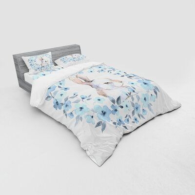 Photo of East Urban Home Bunny Rabbit Portrait in Floral Wreath Illustration Country Duvet Cover Set Size: Queen Duvet Cover + 3 Additional Pieces