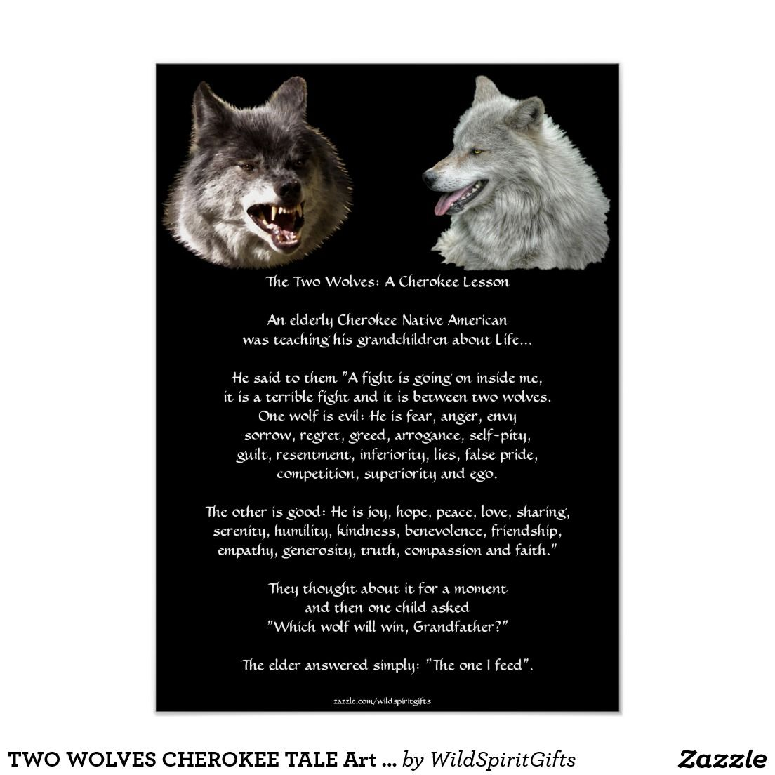 Two wolves cherokee tale art poster products pinterest two wolves cherokee tale art poster publicscrutiny Image collections