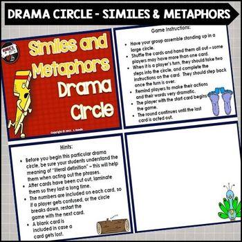Similes and Metaphors Drama Circle | Aktivitäten, Flüssig lesen und ...