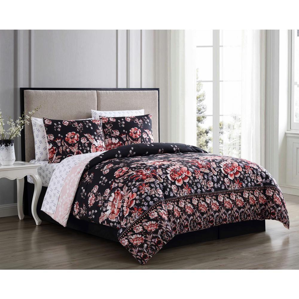 Leni 8 Piece Black Rust Queen Bed In A Bag Lni8bbquenghbr In 2020