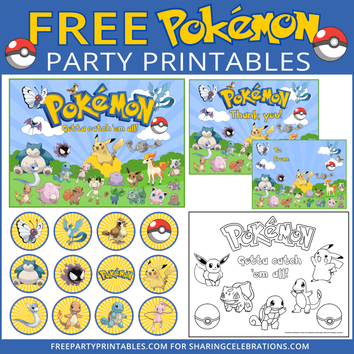 this amazing free printable pokemon party set includes a free sign or card free gift - Free Printable Pokemon Pictures