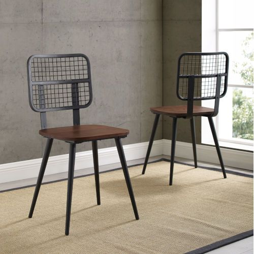 Throw back to a different time with these retro industrial dining chairs. Reminiscent of mid-century design, this mixed material chair features slick tapered legs and a vintage style wide mesh metal back that give this chair a unique character. The seat of the chair is made of high-grade MDF and finished with a wood veneer which increases the class and durability of the unit. Whether you want to add an urban edge to your home office, kitchen table, or simply use as an accent, this set of two cha