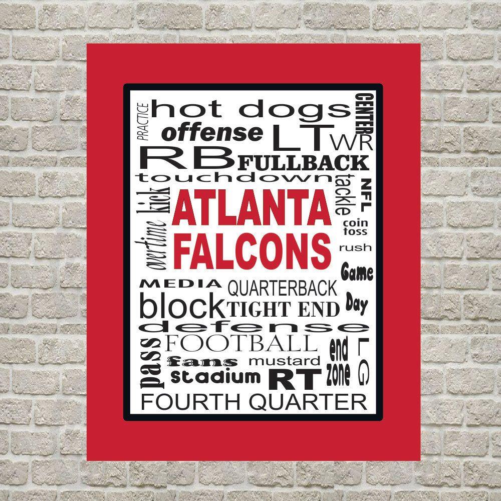 Atlanta Falcons Nfl Print Digital File Instant Download Subway Art Typography Calligraphy Printable Atlanta Falcons Art Subway Art Falcons Game