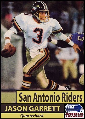 Jason Garrett with WLAF San Antonio Riders | World football league,  Professional football teams, Nfl football players