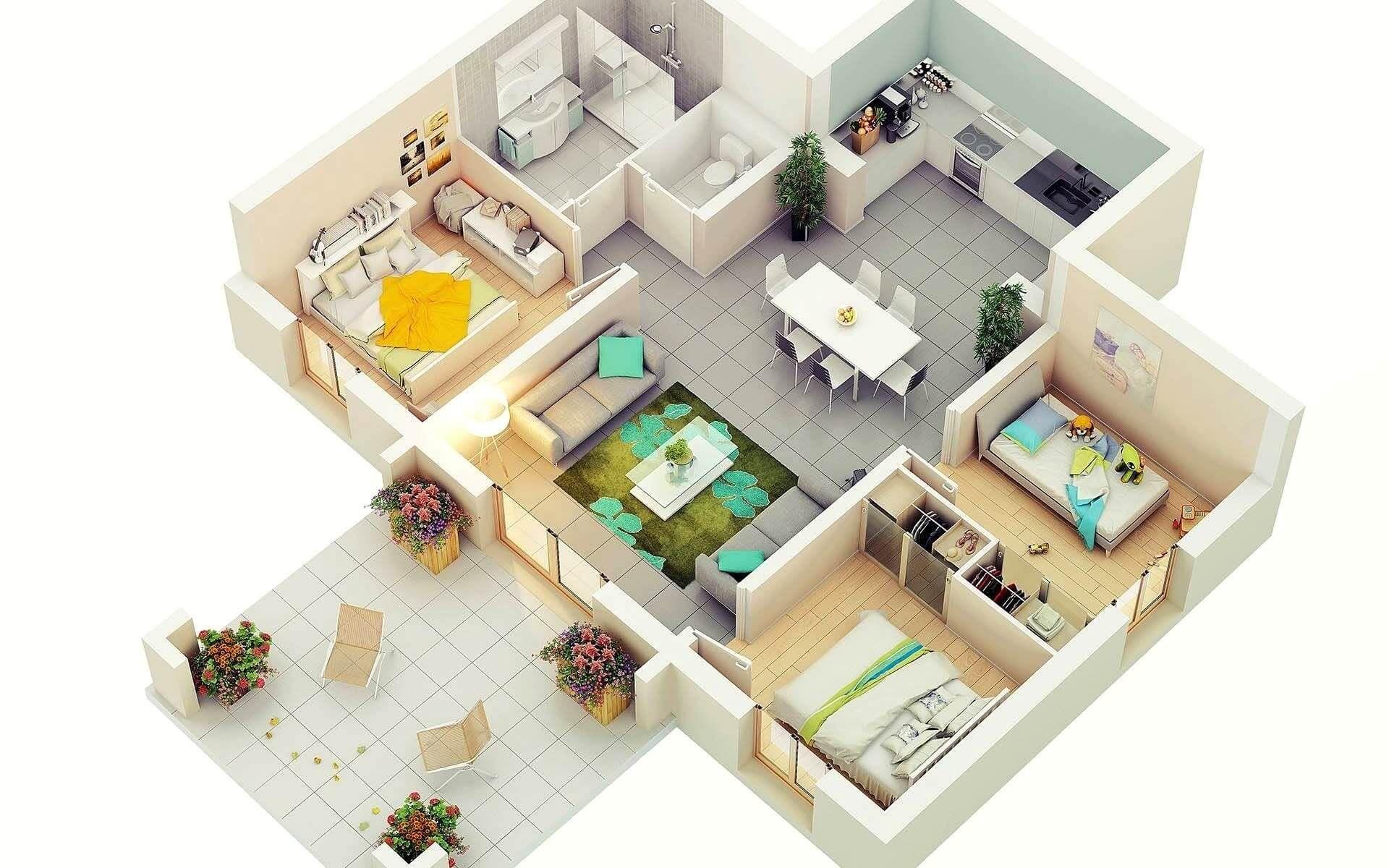 40 Amazing 3 Bedroom 3d Floor Plans Engineering Discoveries Four Bedroom House Plans Bedroom House Plans House Plans 3 Bedroom