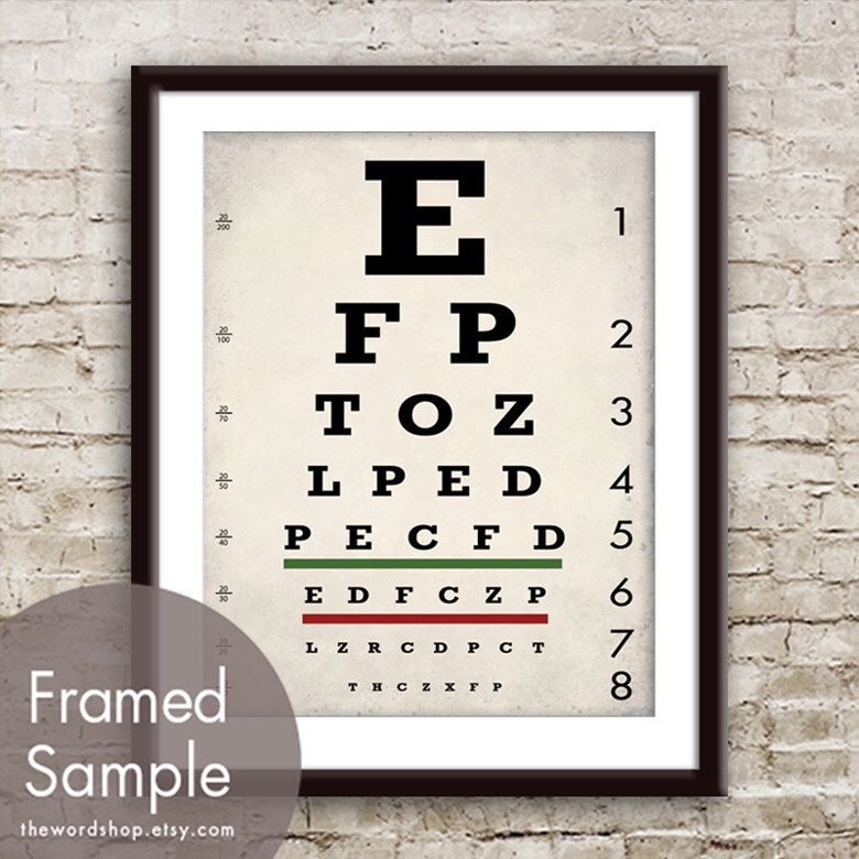 Vintage Eye Chart Art Print Featured In White Stone Grey
