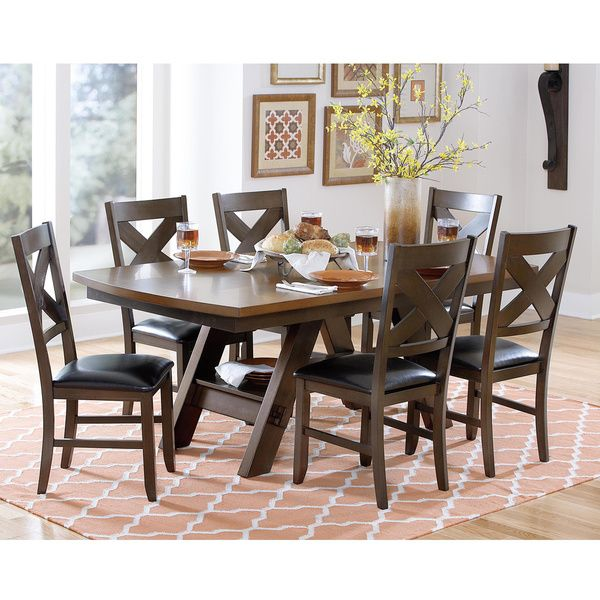 Acadia Dark Brown With Uv Coated Light Table Top Dining Set