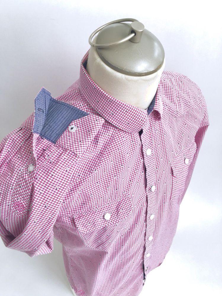feb7cd6f JOHN LENNON English Laundry Paisley Shirt Small S Double Cuff Pink Plaid  #JohnLennon