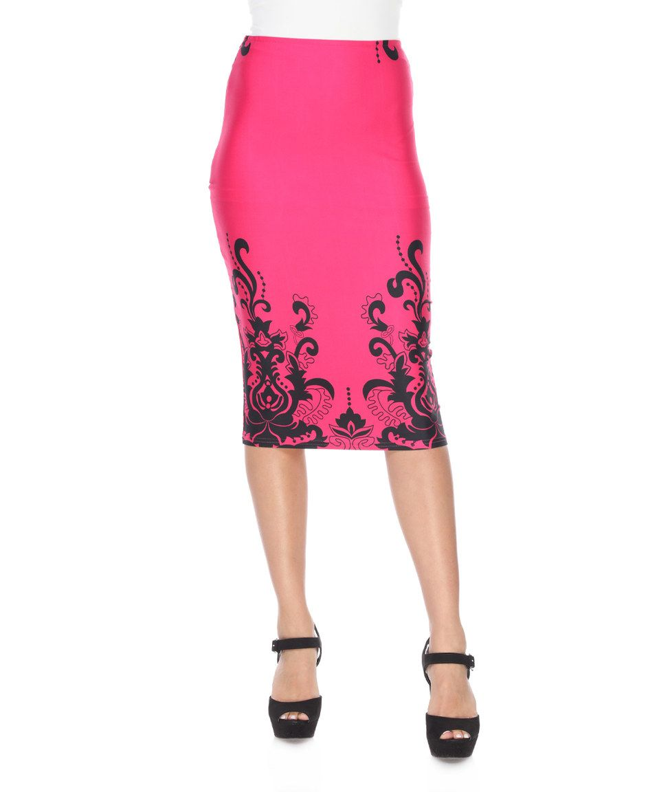 Loving this Fuchsia & Black Damask Pencil Skirt on #zulily! #zulilyfinds