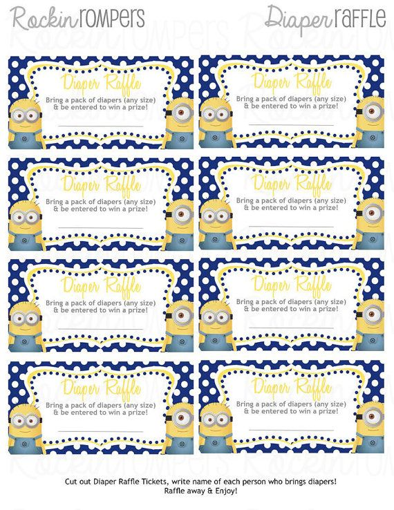 Minion Diaper Raffle ticket by RockinRompers on Etsy - raffle ticket template