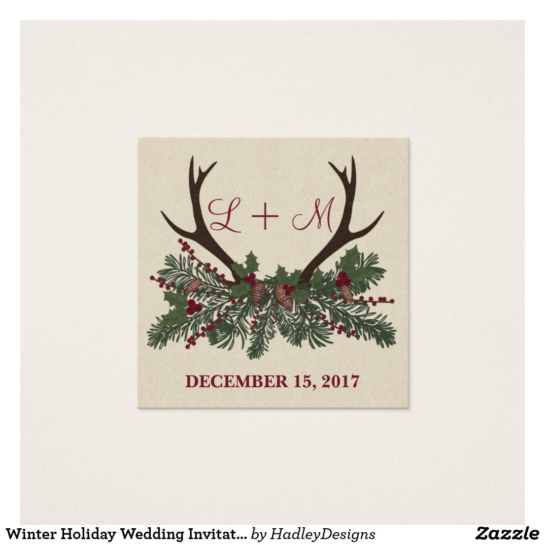 Winter Holiday Wedding Invitation Name Plate Cards | Zazzle ...
