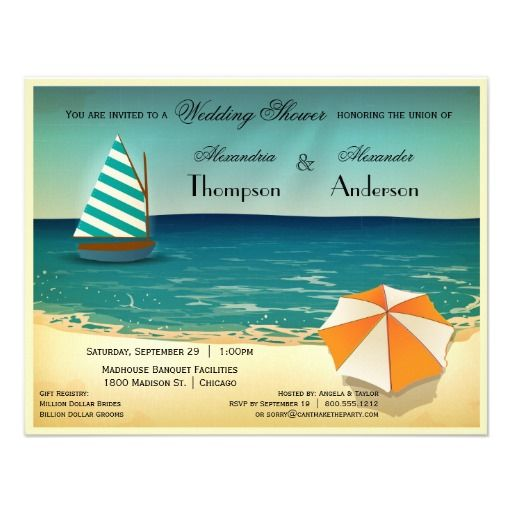 Retro Beach Scene Wedding Shower Invitation In our offer link above