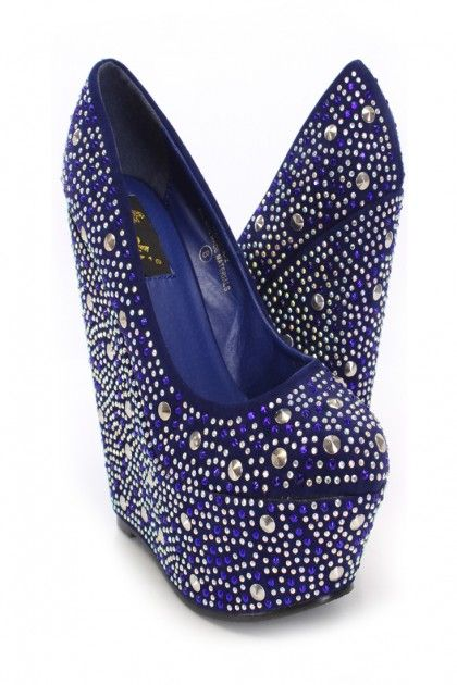 Royal Blue Rhinestone And Studded Decor Wedges Wedges Shoes Store .