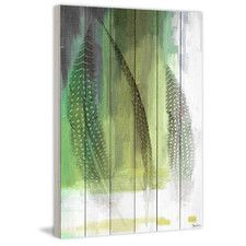 Emerald Feathers Painting Print Plaque