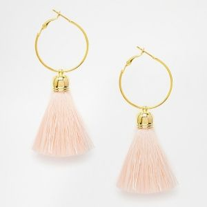 Statement Beaded Hoop and Tassel Earring - Pink Asos nZpagPqF