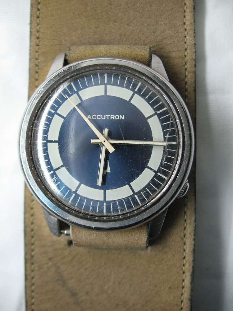 vintage accutron bulova tuning fork blue face mens watch n1 not