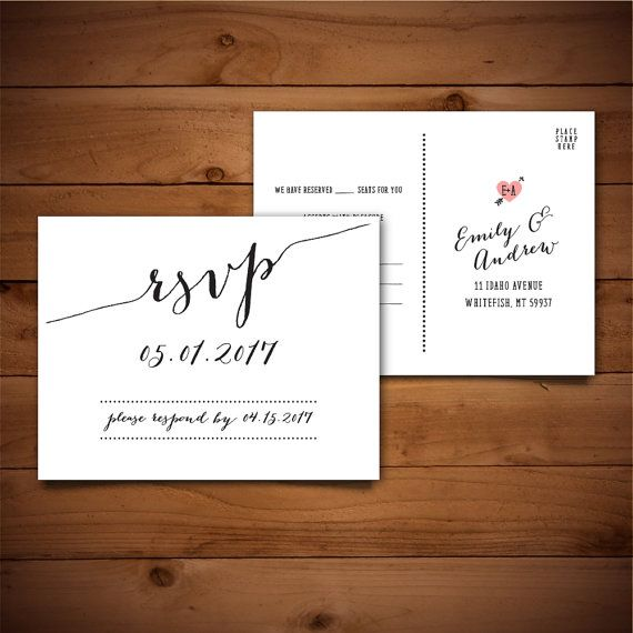 Wedding Invitation Response Cards: PRINTABLE Wedding Postcard RSVP Response Card // By