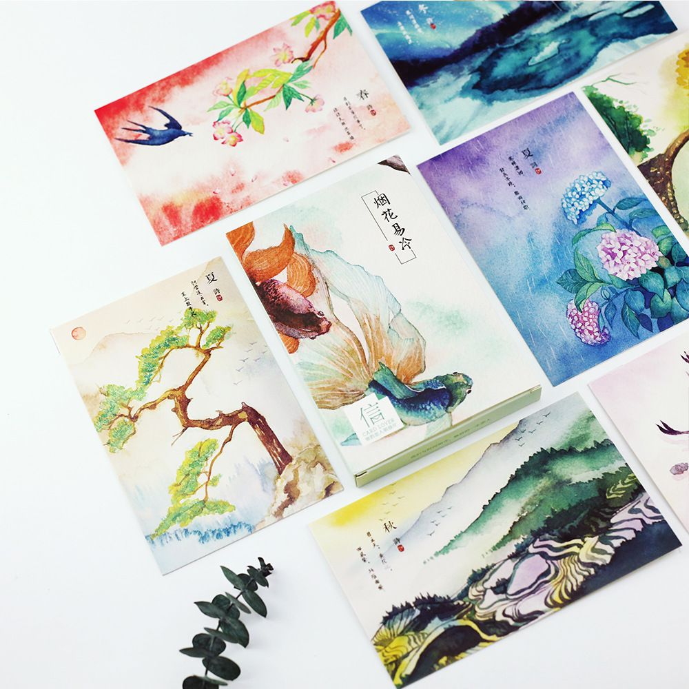 30 Pcslot Flowers Birds Landscape Postcard Greeting Card Christmas