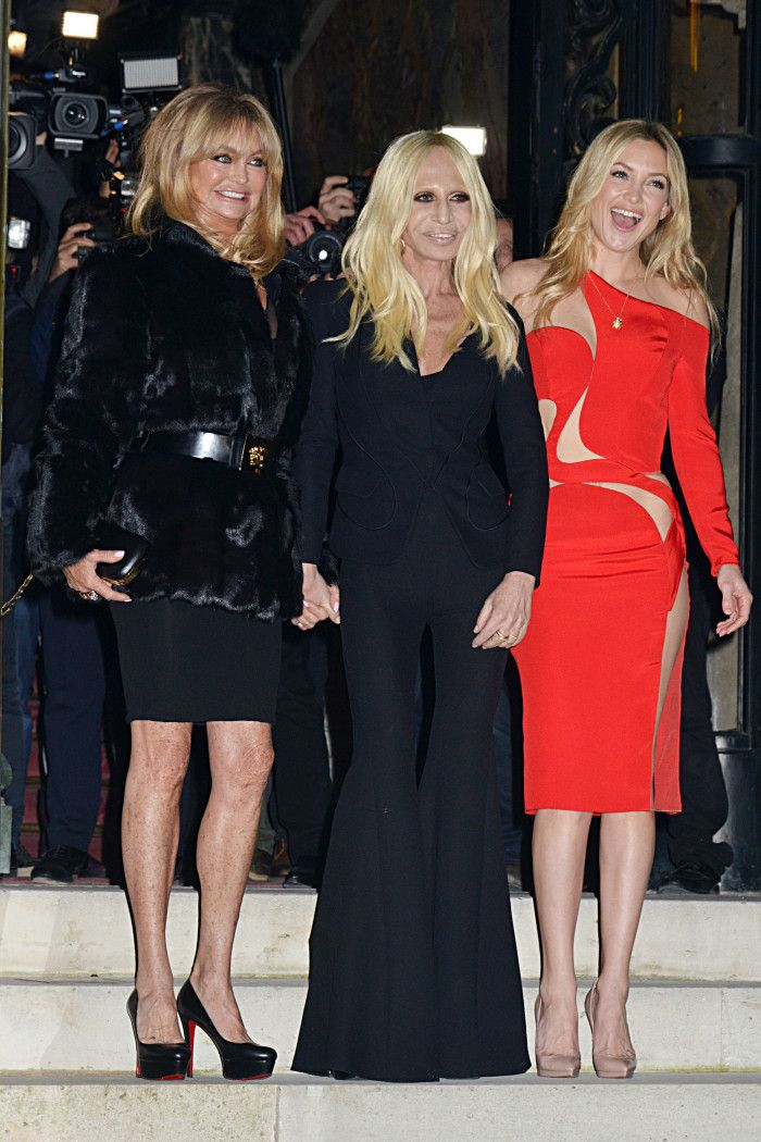 Goldie Hawn, Donatella Versace and Kate Hudson at the Versace show