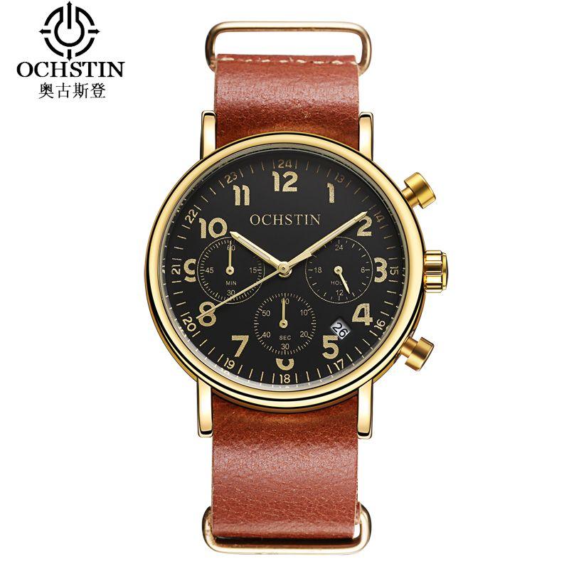 OCHSTIN 2017 Fashion Leather Strap Sport Watch Men Casual Men Watch Business Wristwatches Military Quartz Watch Reloj Hombre