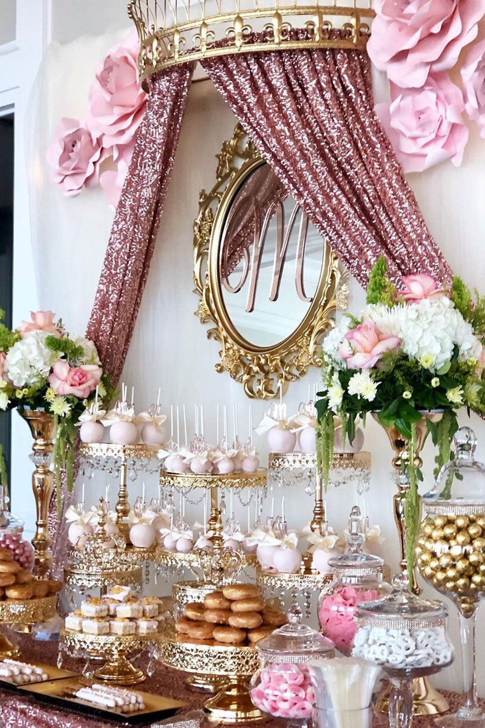 12 Inch Shiny Metallic Mirror Top Cake Stand Gold Plated Rose Gold Party Quince Decorations Gold Dessert Table