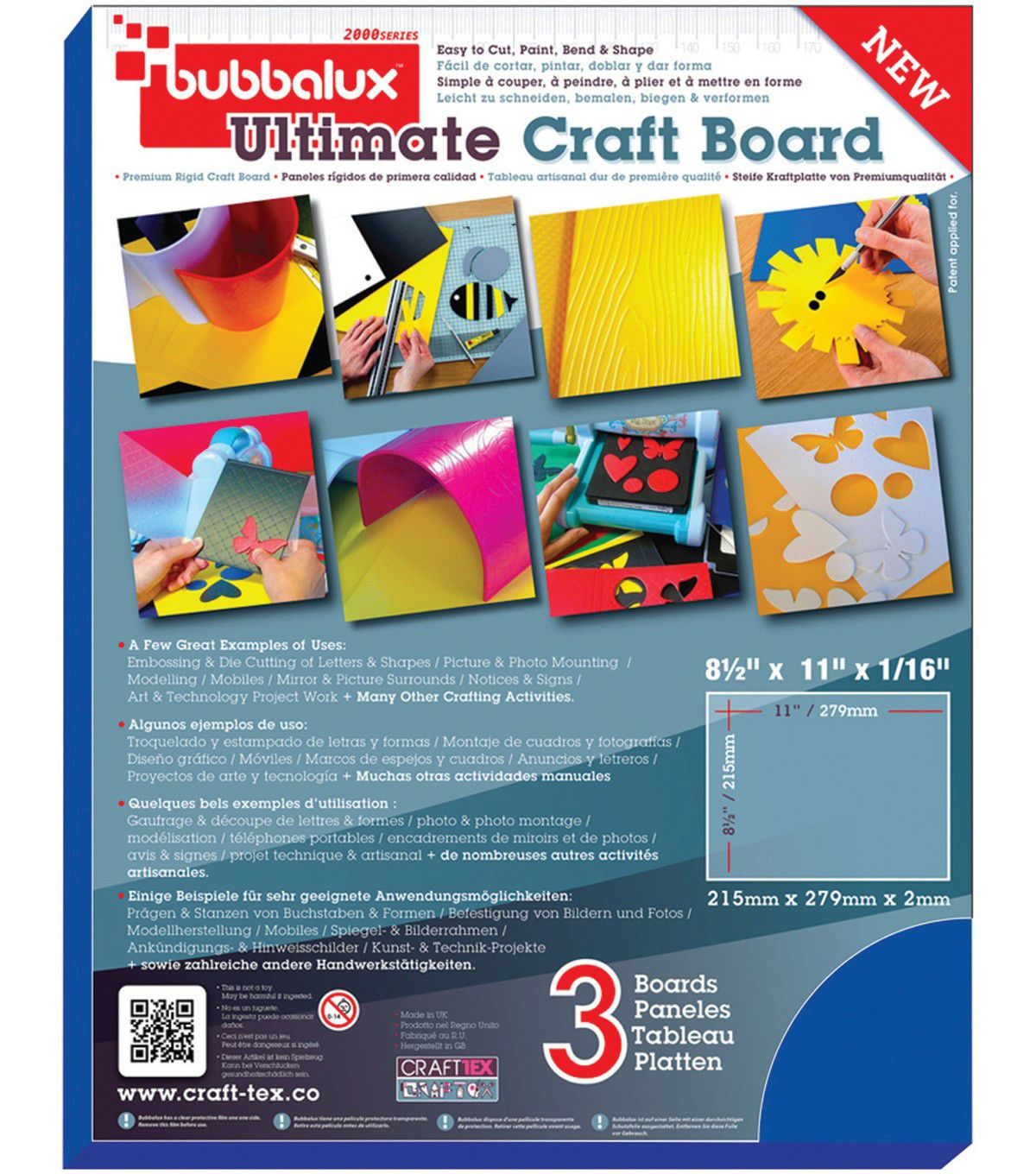 Bubbalux Ultimate Creative Craft Board 8 5 X11 3 Pkg Blue Creative Crafts