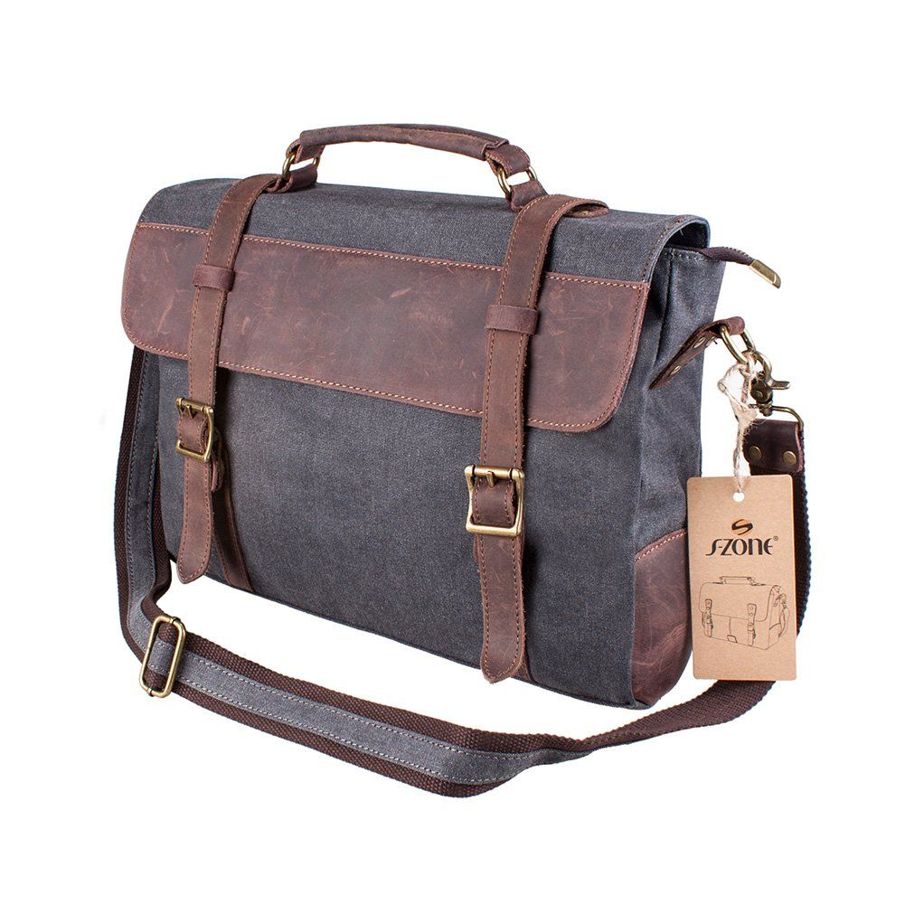 Amazon Com S Zone Vintage Canvas Leather Messenger Traveling Briefcase Shoulder Laptop Laptop Shoulder Bag Vintage Leather Messenger Bag Canvas Messenger Bag