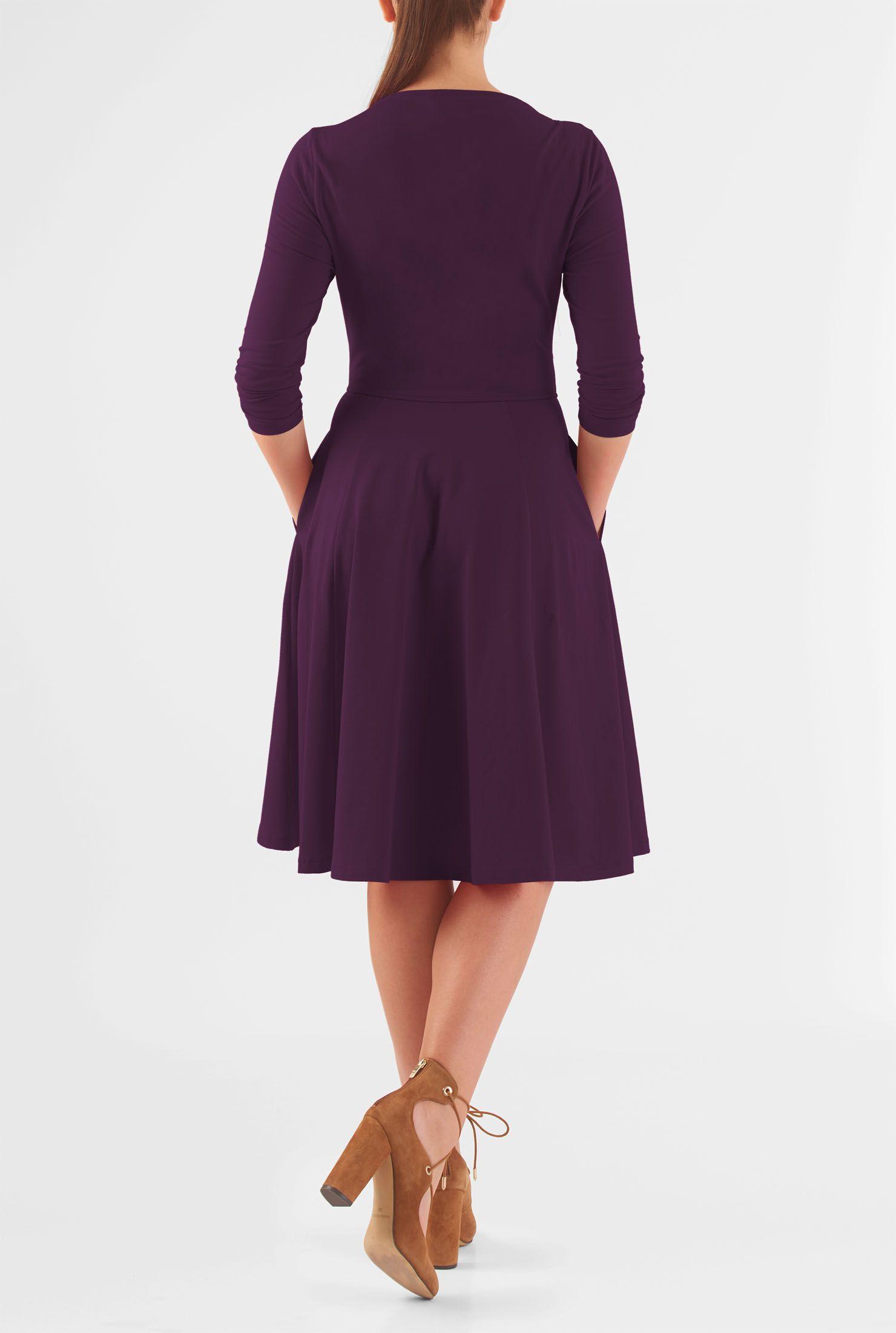 Below knee length dresses boat neck dresses cottonspandex dresses