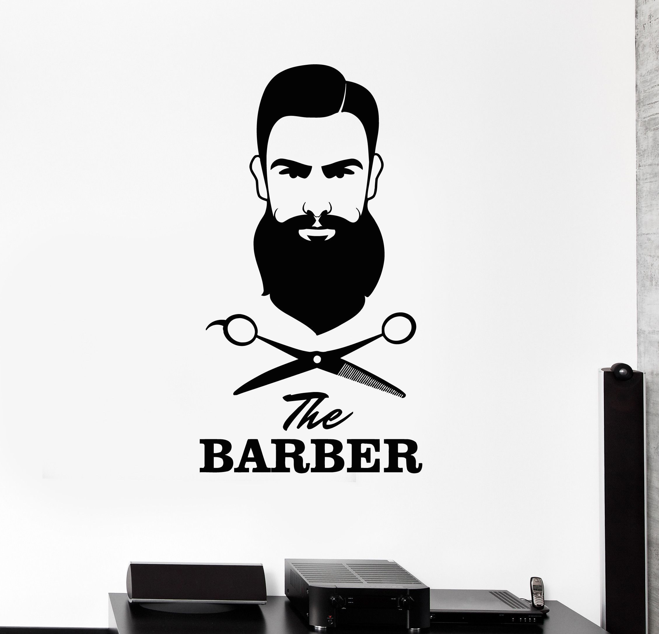 Vinyl wall decal barber shop hair salon scissors tools stylist stickers mural ig5024