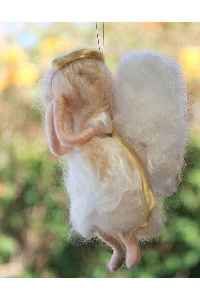 Needle felted angel Christmas tree ornament