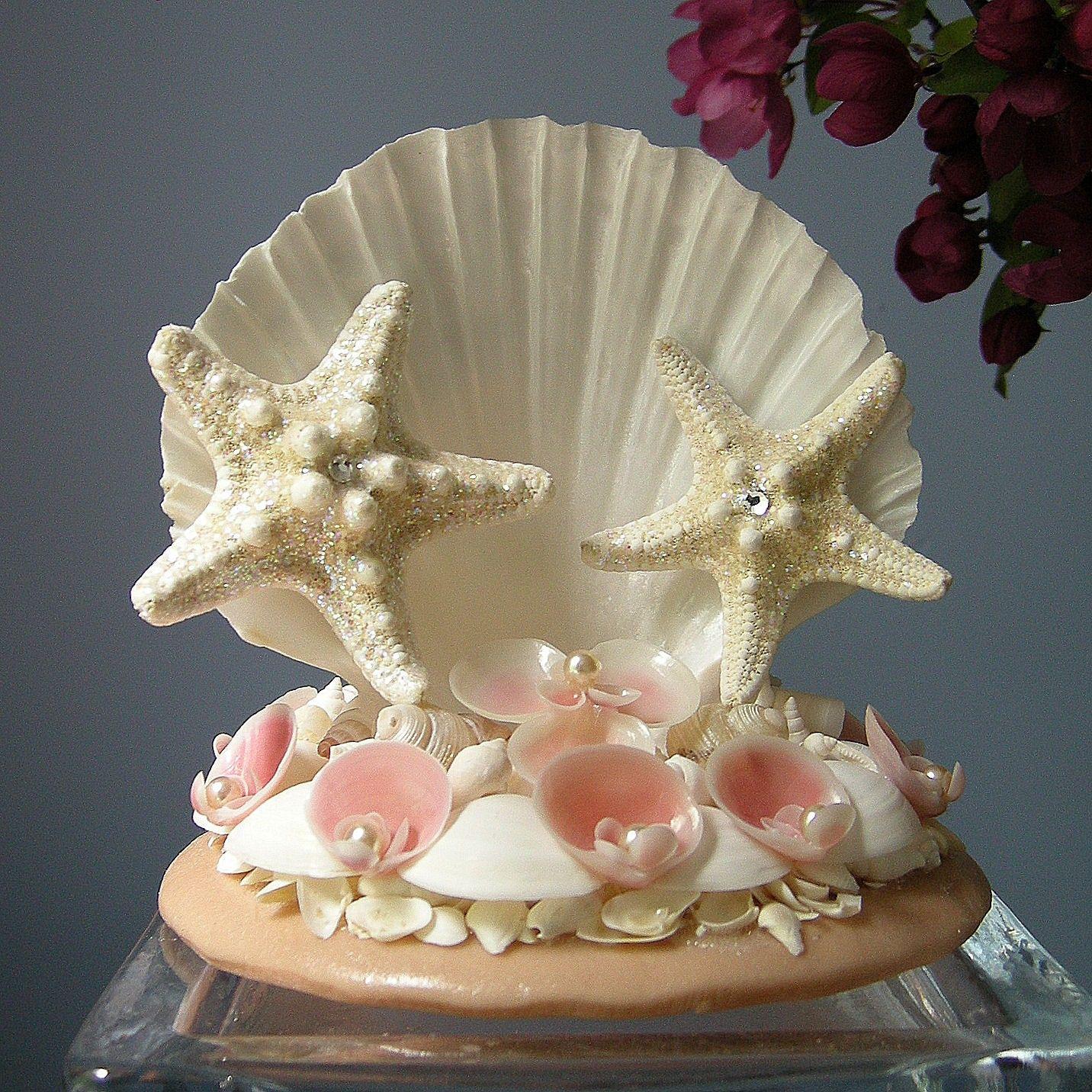 Seashell Topped Wedding Cake