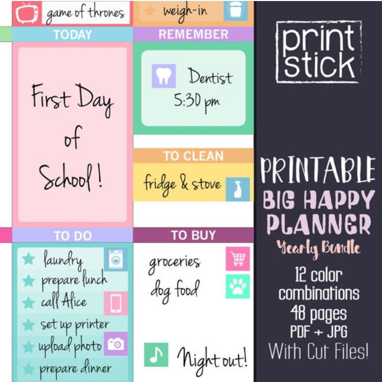 Big Happy Planner Stickers - Sticker Bundle - Yearly Planner - food sign up sheet template